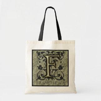 F - Embossed Vintage Monogram (Gold) Tote Bags