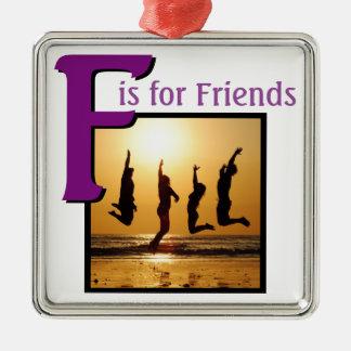 F for Friends Silver-Colored Square Decoration