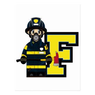 F is for Cartoon Fireman Postcard