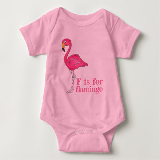 F is for Flamingo Pink Flamingoes Tropical Bird Baby Bodysuit