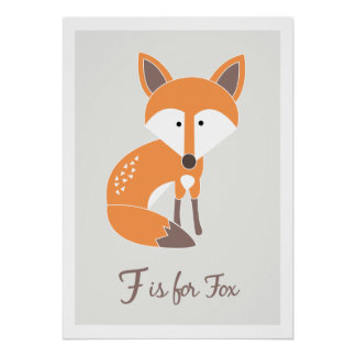 F is for Fox - Alphabet Friends Art Print