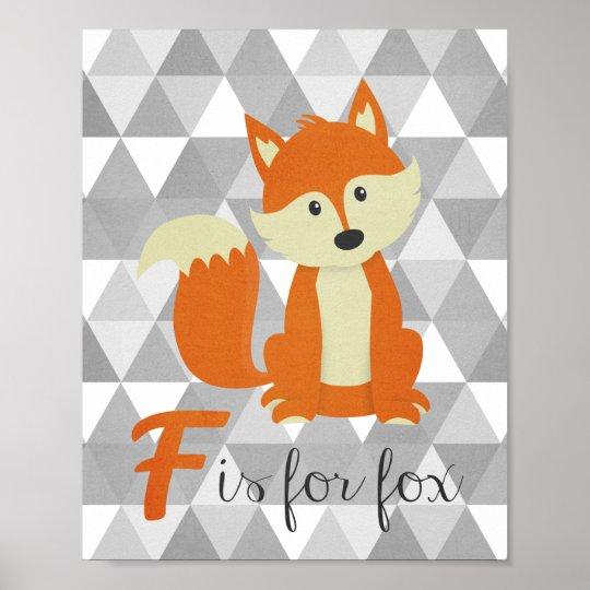 F is for Fox Nursery Wall Art