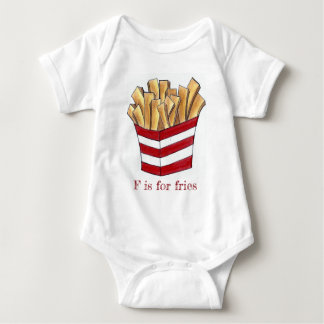 F is for Fries Fast Junk Food Alphabet French Fry Baby Bodysuit
