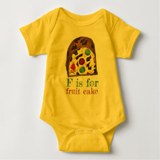 F is for Fruit Cake Christmas Fruitcake Slice ABCs Baby Bodysuit