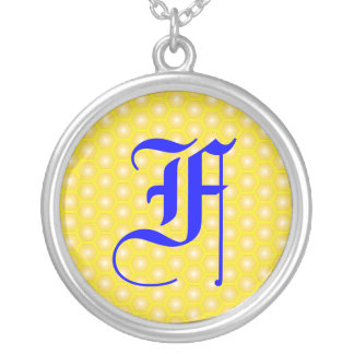 F LETTER ON HONEYCOMB ROUND PENDANT NECKLACE