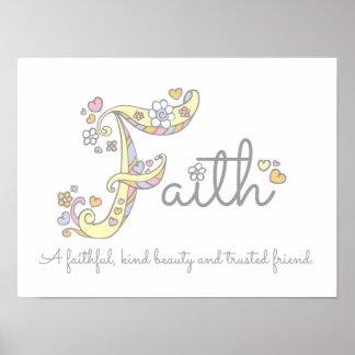 F monogram art Faith girls name meaning poster