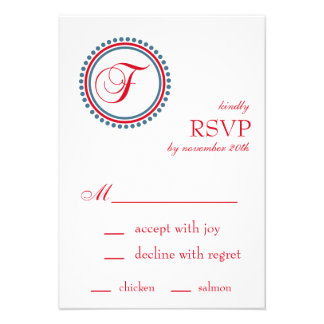 F Monogram Dot Circle RSVP Cards Red Blue