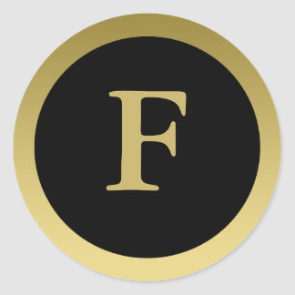 F :: Monogram F Elegant Gold and Black Sticker