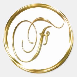 F Monogram Faux Gold Envelope Or Favor Seal Round Sticker