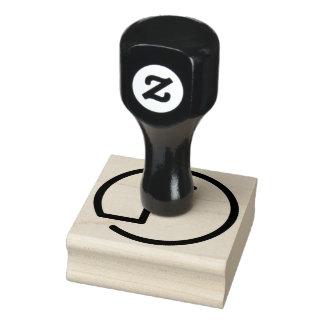 F Monogram Wood Rubber Stamp