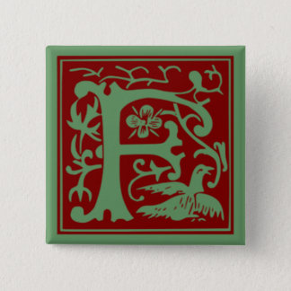 F - Ornamental Alphabet 15 Cm Square Badge