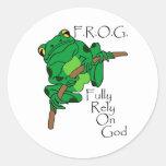F.R.O.G. Fully Rely On God #1 Round Sticker