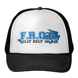 F.R.O.G. - Fully rely on God (blue) Hats