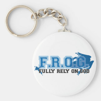 F.R.O.G. - Fully rely on God (blue) Basic Round Button Key Ring