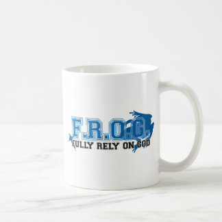 F.R.O.G. - Fully rely on God (blue) Mugs