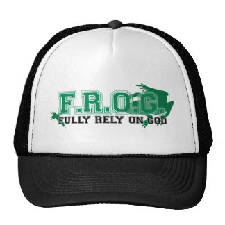 F.R.O.G. - Fully rely on God (green) Hats