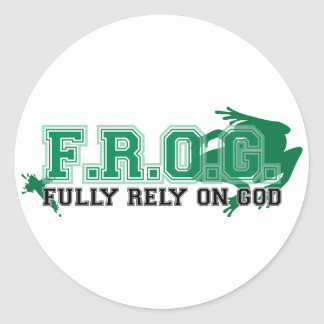 F.R.O.G. - Fully rely on God (green) Round Sticker