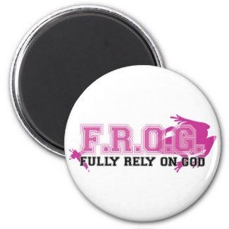F.R.O.G. - Fully rely on God (pink) 6 Cm Round Magnet