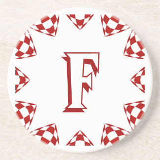 F red white check monogram on white beverage coasters
