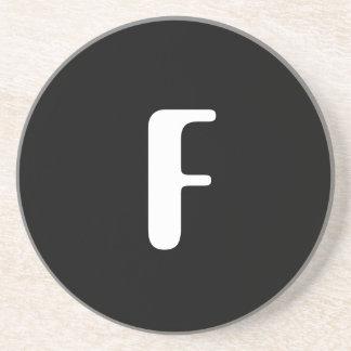 """F"", red & white check monogram on white Drink Coaster"