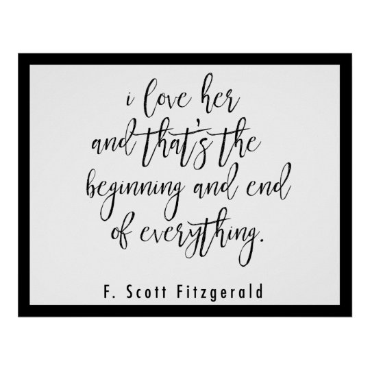 F. Scott Fitzgerald Quote Poster