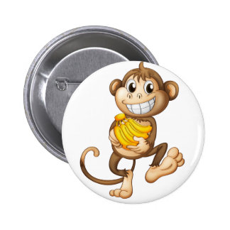 fA happy monkey with bananas 2 Inch Round Button