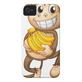 fA happy monkey with bananas iPhone 4 Cases