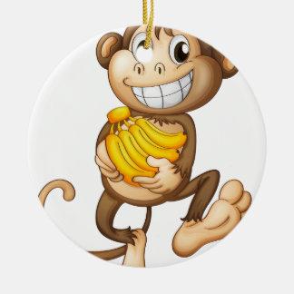 fA happy monkey with bananas Round Ceramic Decoration