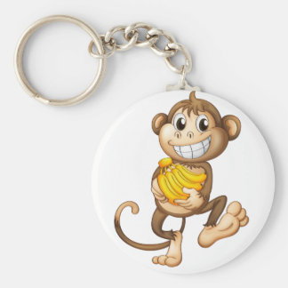 fA happy monkey with bananas Basic Round Button Keychain