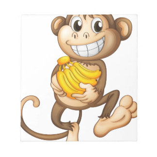 fA happy monkey with bananas Memo Note Pads