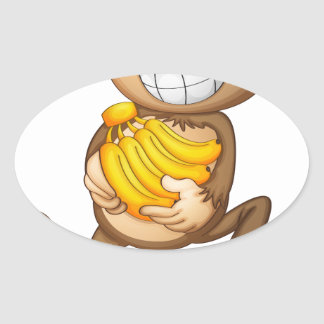 fA happy monkey with bananas Oval Sticker