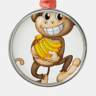 fA happy monkey with bananas Silver-Colored Round Decoration