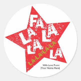 Fa La La Star Studded Label Round Sticker