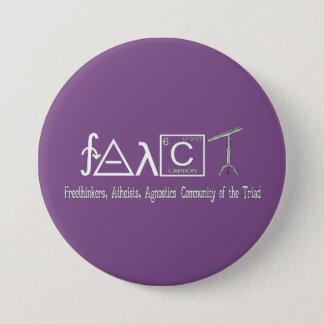 """FAACT Atheist Group Round Button 3"""" Dark"""
