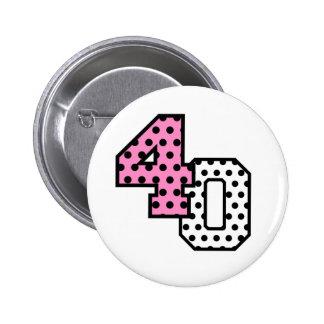 FAB 40th Birthday PINK BLACK WHITE POLKA DOTS Pin