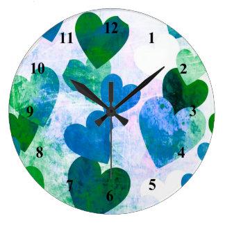 Fab Green & Blue Grungy Hearts Design Wallclock