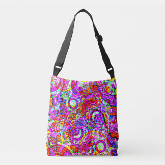 Fab Hipster Retro Purple Red Paisley Pattern Crossbody Bag