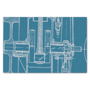 Blueprint craft supplies zazzle fab mechanical drawing blueprint blue and white tissue paper malvernweather Images