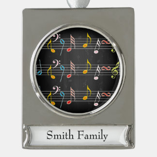 Fab Music Notes on Black Silver Plated Banner Ornament