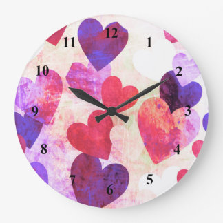 Fab Pink & Purple Grungy Hearts Design Wall Clocks