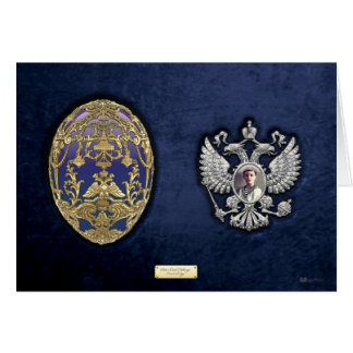 Faberge Tsarevich Egg with Surprise on Blue Velvet Greeting Cards