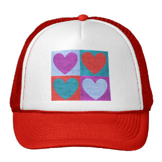 fabric-685253 HEARTS SQUARES TEXTILE FABRIC BACKGR Trucker Hat