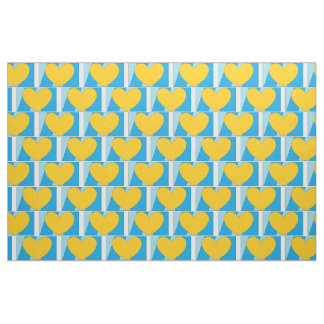 Fabric, blue with yellow hearts fabric