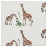 Fabric-Christmas Giraffes Fabric
