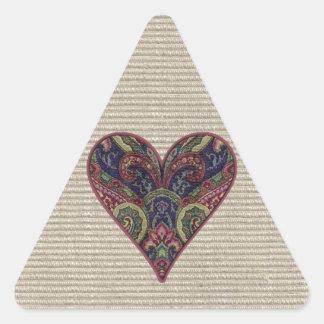 Fabric Collage Heart Triangle Sticker