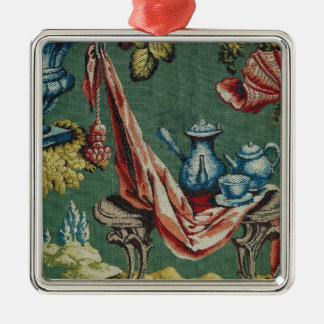 Fabric depicting a chocolate pot and a teapot christmas ornament