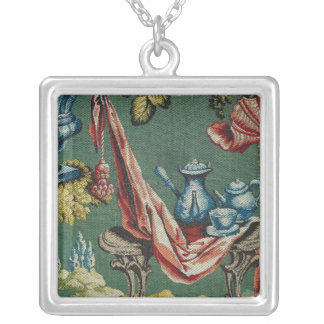 Fabric depicting a chocolate pot and a teapot silver plated necklace