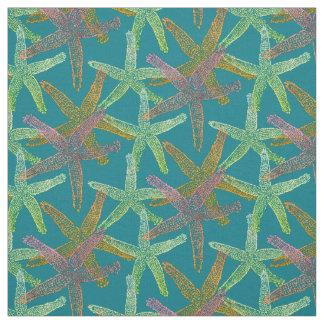 fabric Nautical starfish  pink teal yellow green