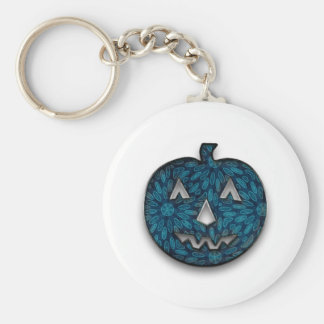 Fabric pumpkin basic round button key ring
