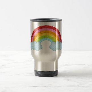 Fabric rainbow travel mug